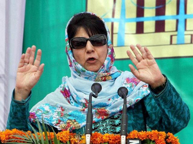 Jammu and Kashmir chief minister Mehbooba Mufti addressing during the inauguration of a hospital in Jammu on Tuesday.