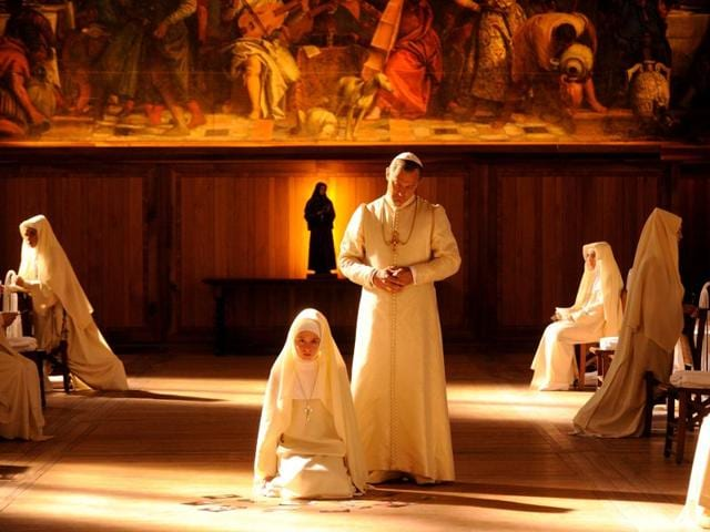 Jude Law on the set of The young Pope by Paolo Sorrentino.