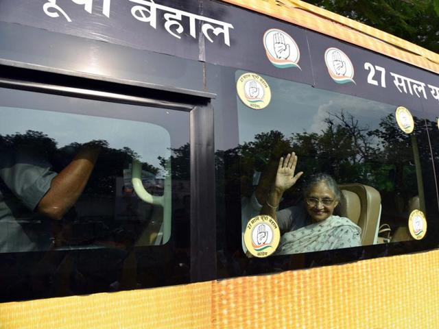 Congress CM candidate for UP polls Sheila Dikshit begins her three-day bus tour in Varanasi.