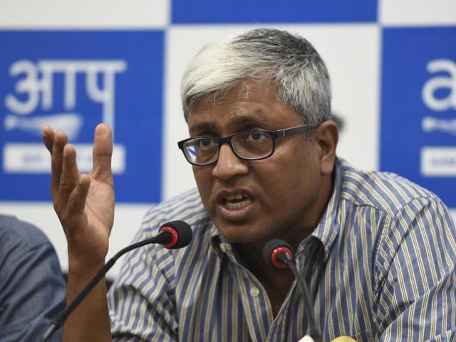 AAP leader Ashutosh in New Delhi. The police have registered a complaint against AAP leader Ashutosh for his blog in defence of sacked AAP minister Sandeep Kumar, who was arrested on charges of rape