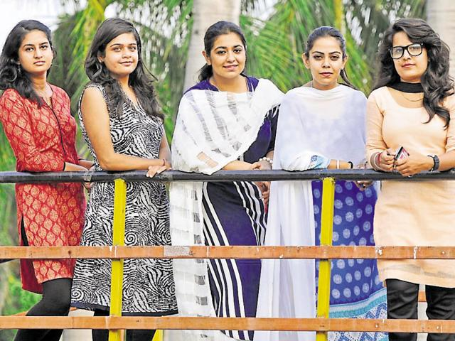 Sabhya Jaswal of INSO, Manvi Gandhi of ABVP, Avneet Kaur of NSUISF, Siya Minocha of NSUI and Jyoti of PUHH at Panjab University in Chandigarh on Sunday.