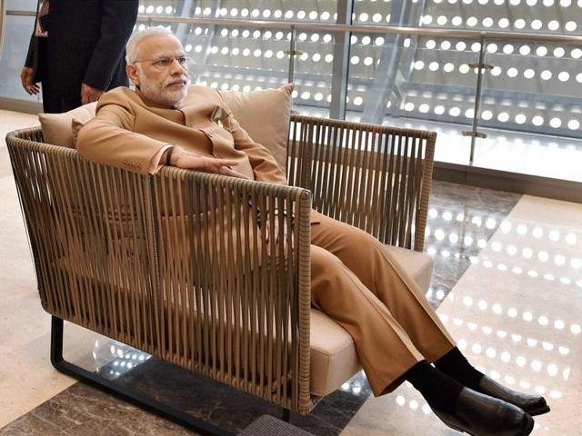 Prime Minister Narendra Modi before a meeting with British Prime Minister Theresa May on the sidelines of the G20 Summit in Hangzhou, China, on Monday.(PTI)
