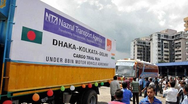 A pact allows vehicles to enter each other's territory and does away with trans shipment of goods from one country's truck to another at the border.(PTI)