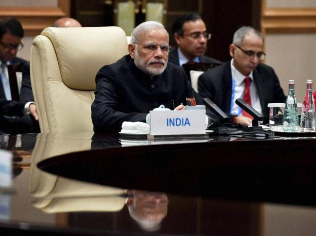 Prime Minister Narendra Modi in the BRICS meeting in Hangzhou, China on Sunday.