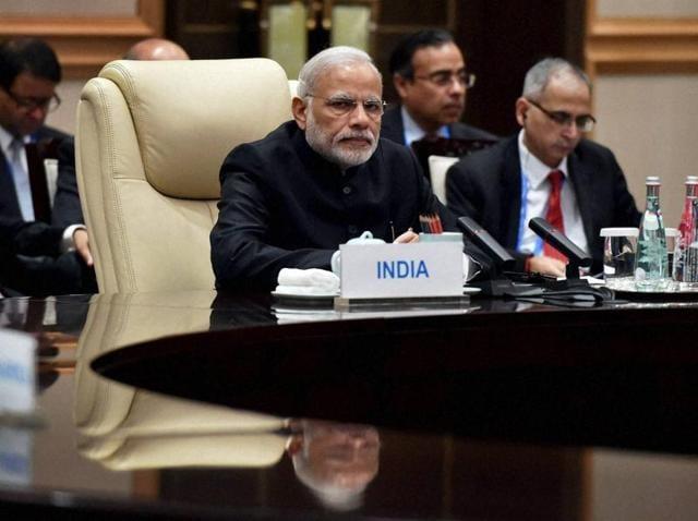 Prime Minister Narendra Modi in the BRICS meeting in Hangzhou, China, on Sunday.
