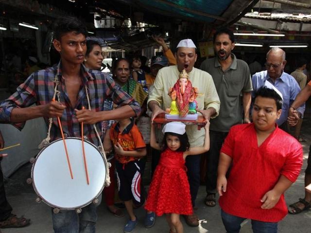 The 11-day Ganpati festival began on Monday.(Praful Gangurde)