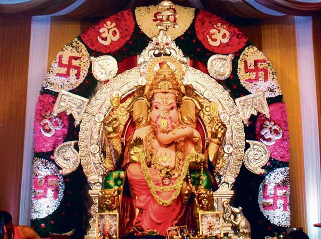 The Ganesh Puja pandal of GSB Seva Mandal at King's Circle, Mumbai, India. GSB Seva Mandal has bought  insurance cover worth Rs 300 crore for the Ganesh Puja