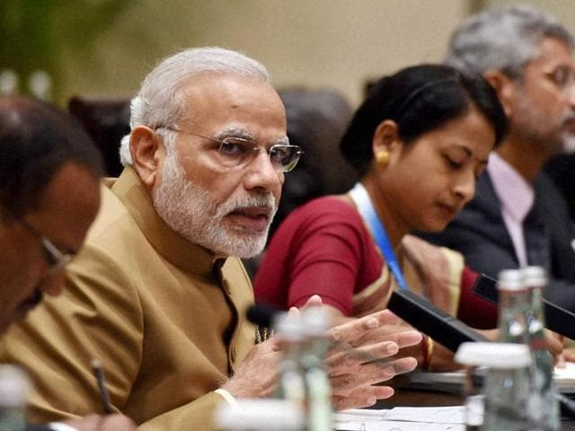 Prime Minister Narendra Modi during a meeting with UK Prime Minister Theresa May at the G20 summit in Hangzhou, China on Monday.