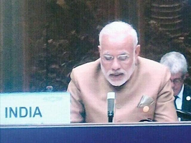Prime Minister Narendra Modi speaks during the concluding session of the G20 Summit in Hangzhou, China on Monday, Sep 5, 2016.(PTI)