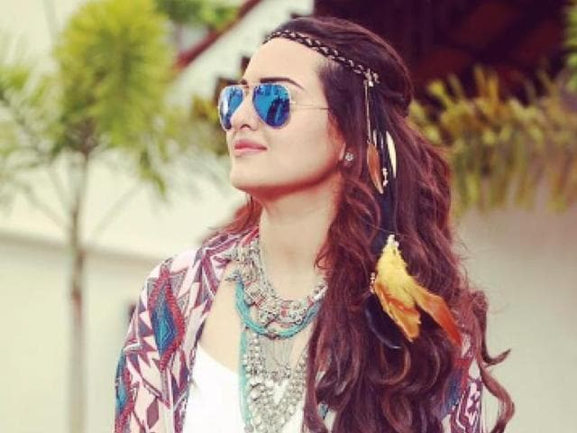 Actor Sonakshi Sinha sporting mirrored sunglasses