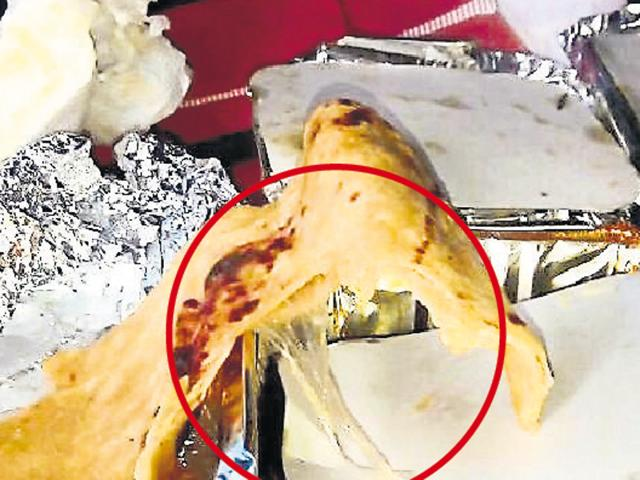 A Delhi resident found a piece of plastic sheet on the food served to her in the executive compartment.