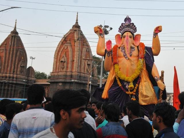 Sneha Navyuvak Mandal takes out a procession on the occasion of Ganesh Chaturthi in Indore on Monday.