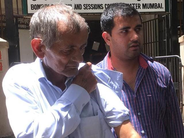 Preeti Rathi's father Amarsingh and her brother outside the court on Tuesday
