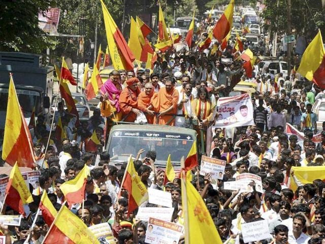 Members of a Kannada outfit take out a protest rally over the Cauvery issue in Bengaluru.