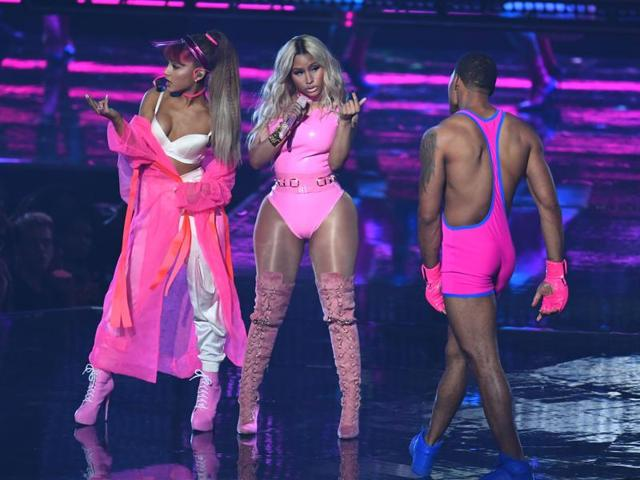 Ariana Grande and Nicki Minaj perform during the 2016 MTV Video Music Awards August 28, 2016.