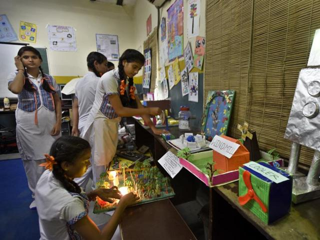 Students take part in various activities at Government Girls Senior Secondary School in New Kondli, Delhi, which is one of the AAP government's model schools.