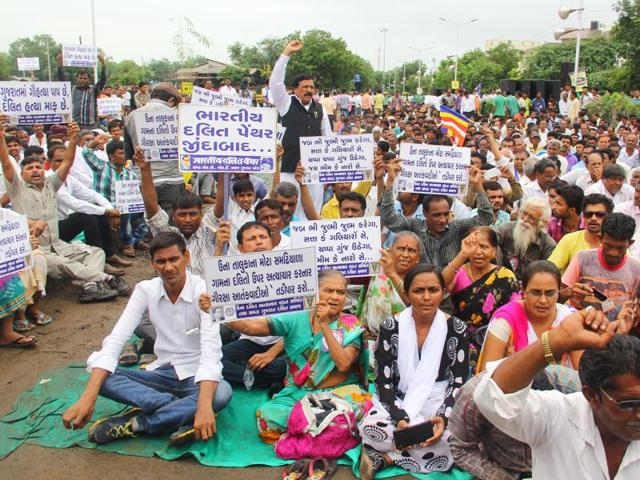 Dalits participate in a protest rally in Ahmedabad.