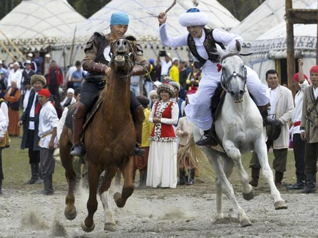 Participants take part in a horse-riding competition during the second World Nomad Games.