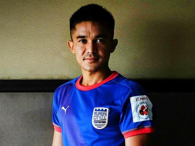 Indian footballer and striker for Mumbai City Sunil Chhetri.
