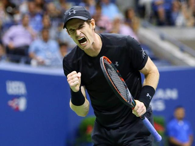Murray celebrates a point won with a fist pump.