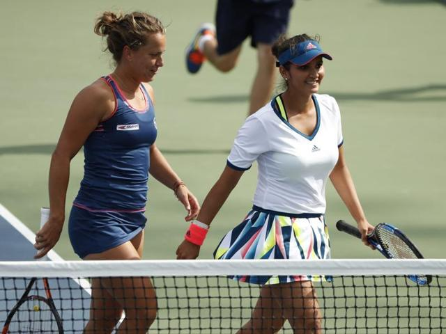 Sania Mirza, right, and Barbora Strycova will face French top seeds Caroline Garcia and Kristina Mladenovic for a place in the semi-finals.
