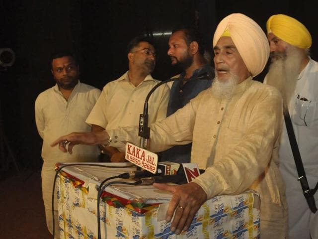 Chhotepur at a public meet in Jalandhar on Wednesday.