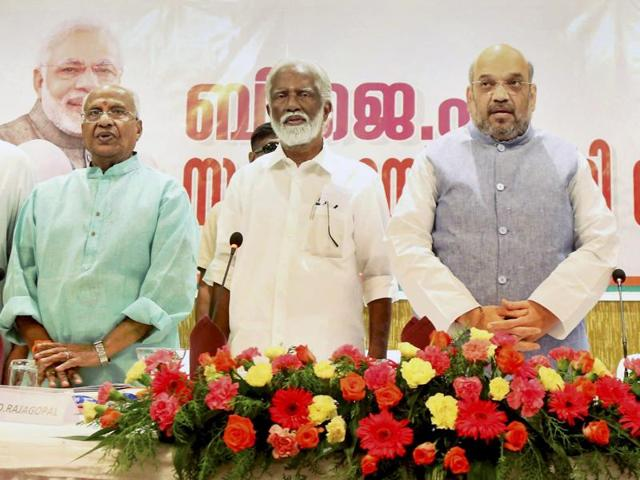 BJP national president Amit Shah with BJP state president Kummanam Rajasekharan and others in Thiruvananthapuram.