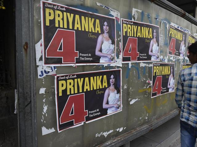 Posters carrying the photo of actor Priyanka Chopra have come up in and around Delhi University, where student union elections will be  held on September 9.