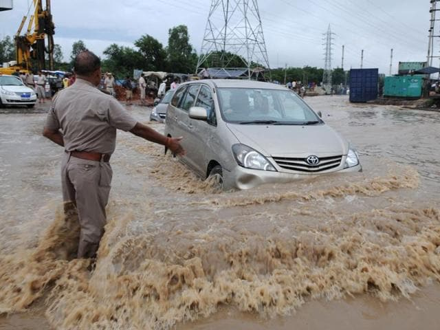 Blockage and breach in Badshahpur drain led to waterlogging at Hero Honda Chowk following rain on July 28 and 29 and again on August 29 and 30.