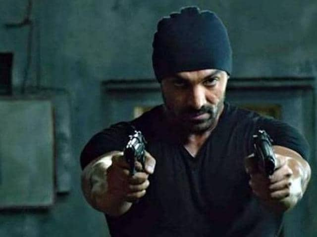 John Abraham in a still from Rocky Handsome.