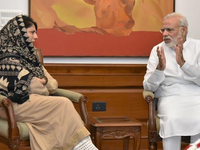 Prime Minister Narendra Modi meets Jammu and Kashmir CM  Mehbooba Mufti at 7RCR in New Delhi on August 27, 2016.