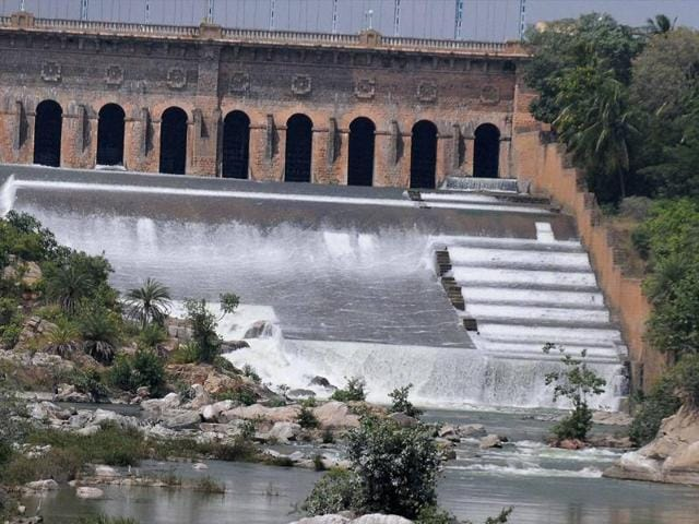 A view of the Krishnarajasagar Dam in Mysuru. Karnataka started releasing Cauvery water to Tamil Nadu on Wednesday in compliance with aSupreme Court order.