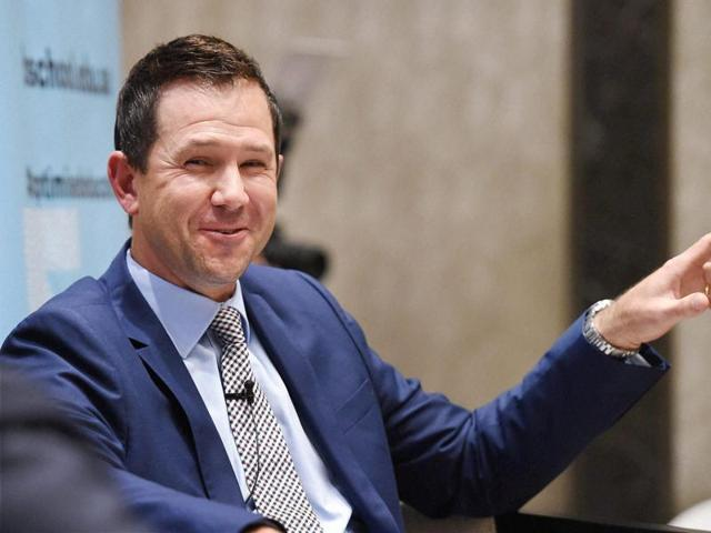 Australian former cricketer Ricky Ponting plays cricket at the Australian High Commission in New Delhi.