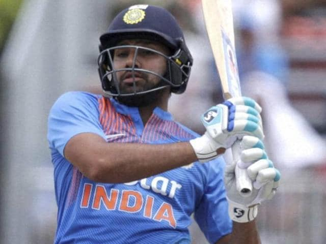 Rohit Sharma watches after hitting a six during the second Twenty20 international cricket match.