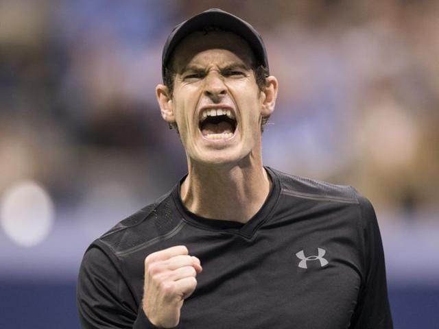 Andy Murray of Great Britain reacts against Grigor Dimitrov of Bulgaria.