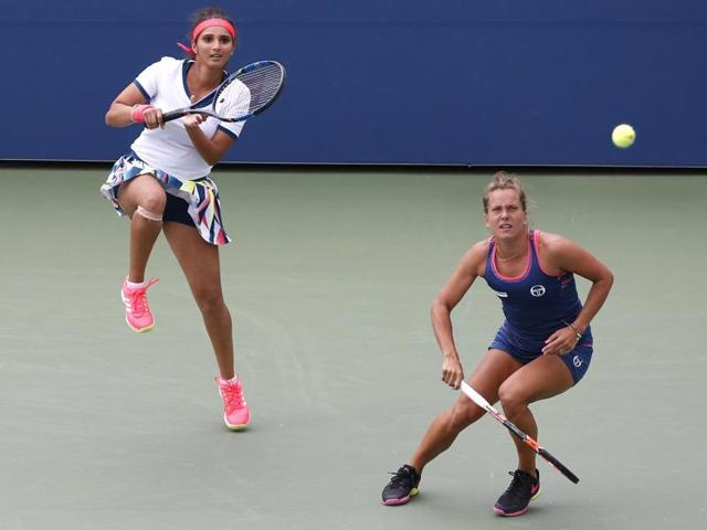 Sania Mirza and Barbora Strycova in action against Caroline Garcia and Kristina Mladenovic.