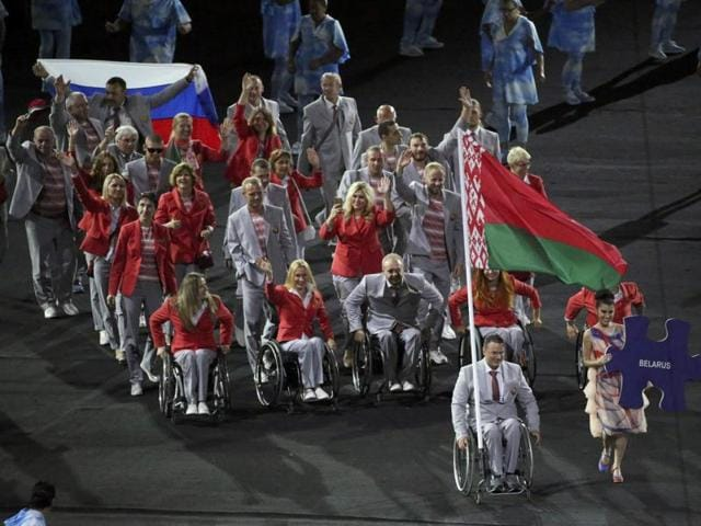Athletes from Belarus take part in the opening ceremony.
