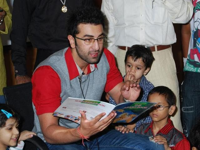 Actor Ranbir Kapoor engages children in a storytelling session organised by Uday Foundation.