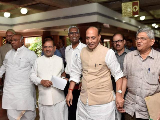 Home minister Rajnath Singh (centre)along with other political leaders after an all party meeting in New Delhi.