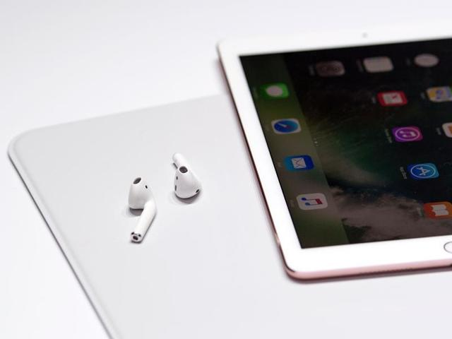 A pair of wireless AirPods are seen during a media event at Bill Graham Civic Auditorium in San Francisco, California.