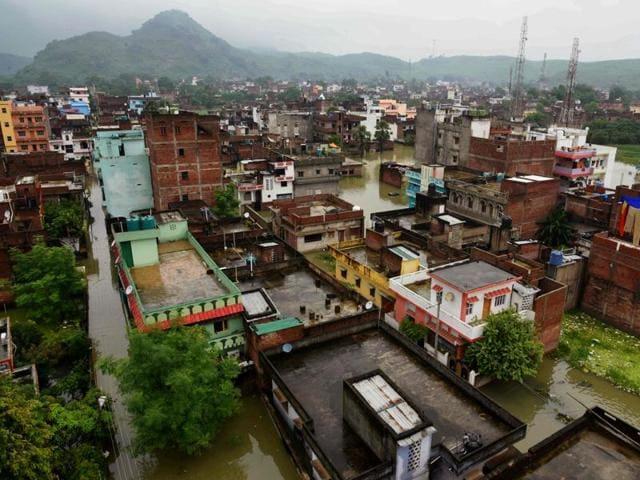 The flooded Pant Nagar area of Gaya after incessant monsoon rains flooded the city, in Bihar.