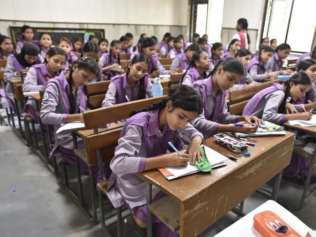 Students of Zeenat Mahal Government Sarvodaya Girls Senior School in northeast Delhi. All CBSE schools follow a Continuous and Comprehensive Evaluation System.