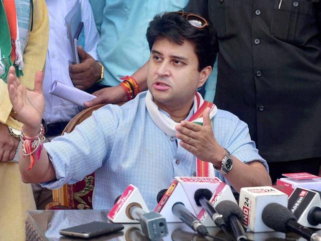 Congress MP Jyotiraditya Scindia addresses a press conference during his visit to Bhopal.