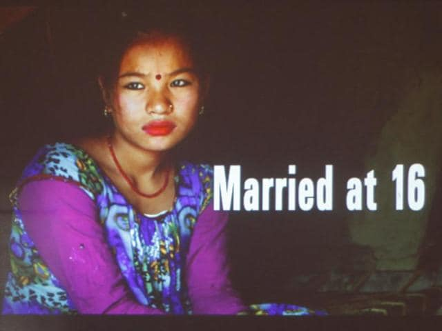 Heather Bar, a researcher at the New York-based Human Rights Watch speaks during the release of a report on child marriage in Kathmandu, Nepal,  on September 8, 2016. Traditional practices, poverty, last year's massive earthquake and Nepal's ongoing political instability mean child marriages remain a serious problem in the country.