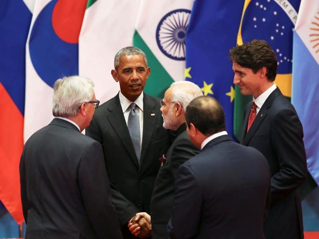Prime Minister Narendra Modi (second from left) with world leaders at the G20 summit, Hangzhou, China