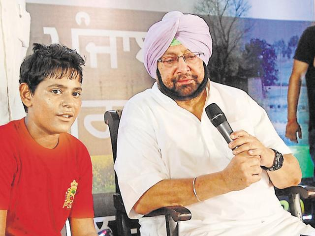 PPCC chief Capt Amarinder Singh during a programme in Moga on Wednesday.