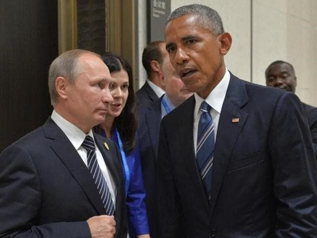 Russian President Vladimir Putin with US President Barack Obama on the sidelines of the G20 Summit in Hangzhou, China on September 5, 2016.