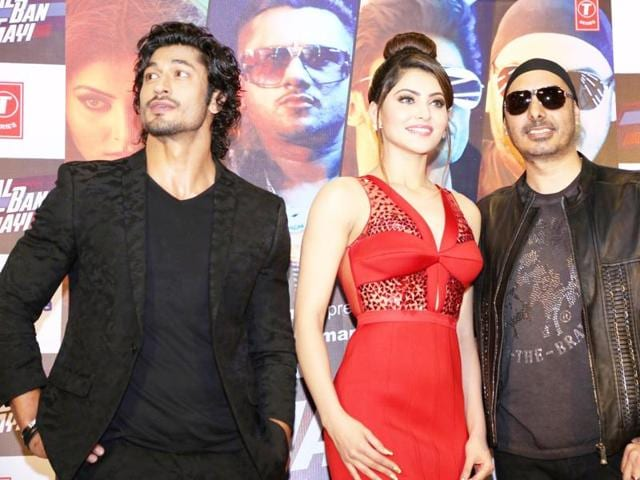 Vidyut Jammwal, Urvashi Rautela and singer Sukhbir Singh during the launch of song Gal Ban Gayi in Mumbai. (Photo: IANS)