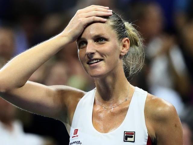 Karolina Pliskova of the Czech Republic reacts against Serena Williams of the United States.