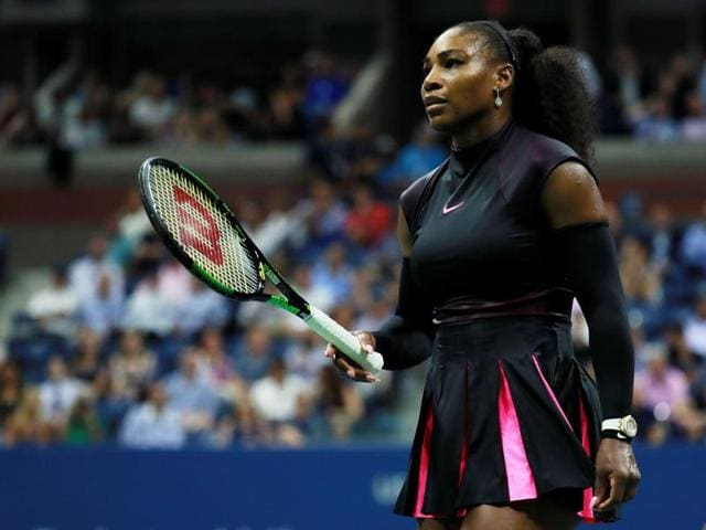 Serena Williams of the United States reacts against Karolina Pliskova of the Czech Republic.